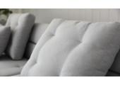 Canapé design 4 places multifonctions gris clair + coffre de rangement Berga